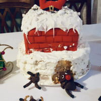 Rudolph Ate The Cake! Chocolate chimney cake and strawberry short cake bottom