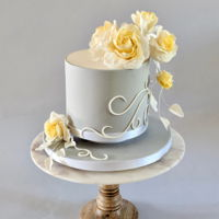 Small Wedding Cake With Yellow Sugar Roses I put the cake on a small pedestal to give it a bit more of a presence. The pale yellow sugar roses, gray and white give it a very elegant...