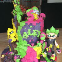 Splatoon/ Chocolate Drip Cake this was for my son!! I asked him what he wanted for his cake, he said splatoon ( Nintendo paint balling game) but he also wanted a...