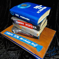 Stack Of Books Cake A stack of books cake. The pages are buttercream and covers fondant. Each book is an individual 2 layer cake - 2 chocolate and 2 vanilla on...
