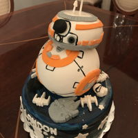 Star Wars Bb-8 My oldest grandson is five! He likes BB-8. The body is RKT with a chocolate cake head. The fondant is painted with navy and black food...