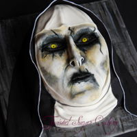 """the Nun"" Demon, Valak This demon is from the movie ""The Nun"" Inspiration came from Koalipops. Super fun cake to make for Halloween!"