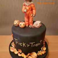 Trick R Treat Cake My Halloween cake this year for the family.Cake is pumpkin spice flavour, and all details are edible and made from modelling chocolate and...