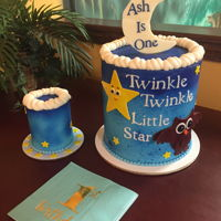 Twinkle Twinkle Little Star 8 inch double barrel with matching smash cake.