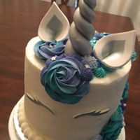 Unicorn Cake Unicorn cake blue teal turquoise purple with silver accents