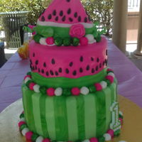 Watermelon 1St Birthday so the top slice was the babys smash cake!! fun summer birthday cake!!
