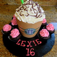 When Only Starbucks Will Do! Death by chocolate cake. Fondant wrapped with buttercream top.