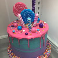 Whimsical Birthday Cake Bright colors and tons of candy!