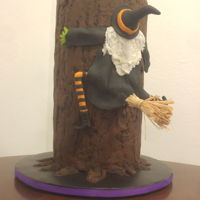 Witch Crashing Into Spooky Tree 3 tiered cake. Much fun!