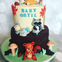 Woodland Animals Baby Shower Cake Handmade animals and decorations. So fun to make. Ganache tree trunk