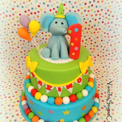 Circus Cake Circus cake made with fondant for the First birthday of one little baby boy. Please note all the cake toppers are available for purchase on...