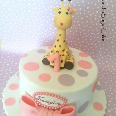 Giraffe Birthday Cake Giraffe cake with fondant figure. Please note it is available for purchase on www.etsy.com/yanchasugarcake