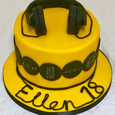 Headphones And Band Logo Cake