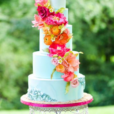 Living Coral Wedding Cake on Cake Central