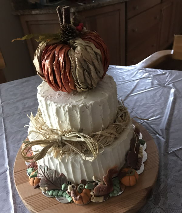 Fall Pumpkin And Leaf Themed Cake