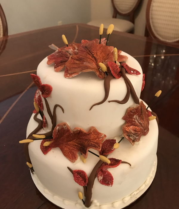 Fall Wedding Cake In Red And Orange