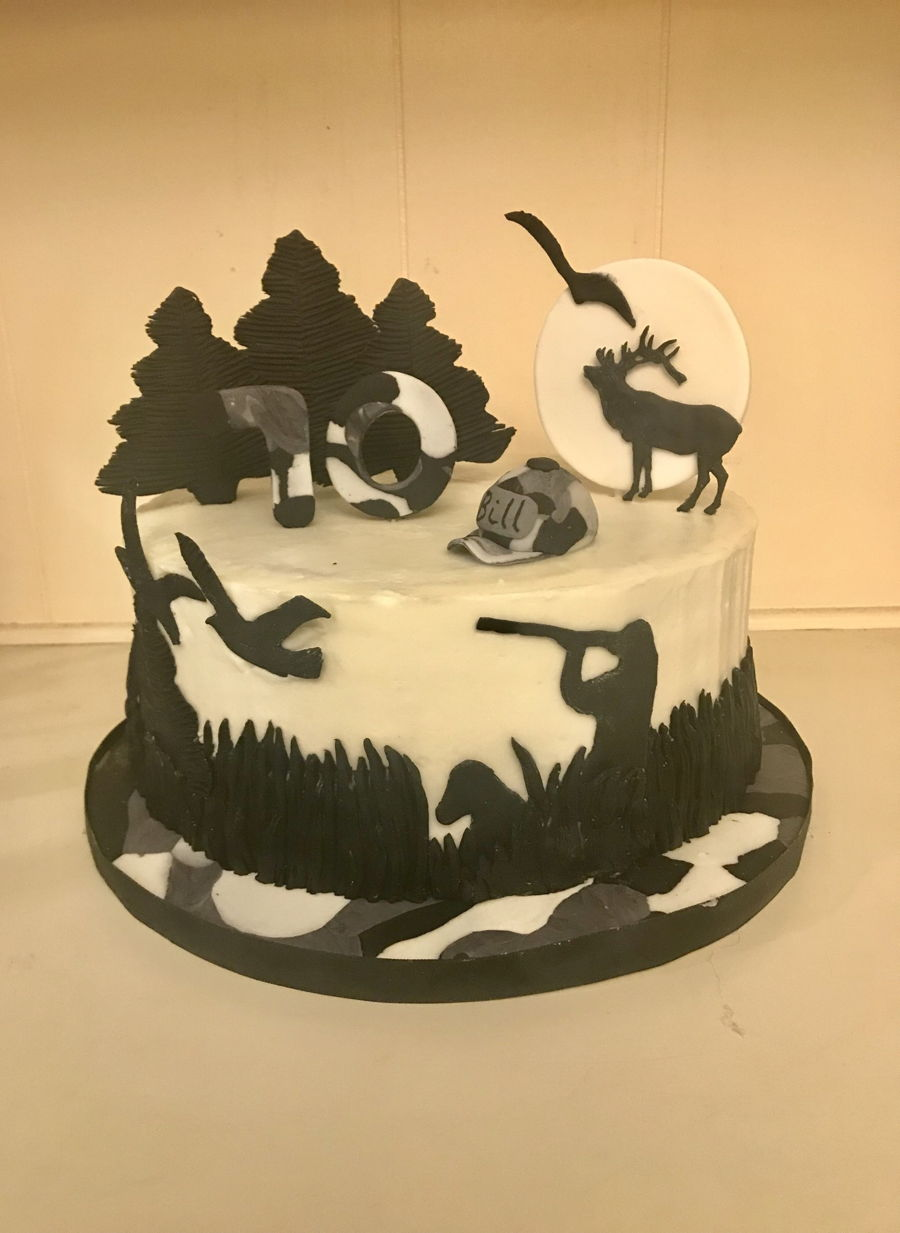 Bird Hunting Silhouette Cake on Cake Central