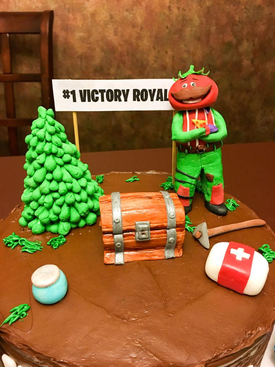 fortnite battle royale birthday cake tomato head skin tree chest pick axe loot llama med kit bandages wood plank slurp juice all handmade from - fortnite tree skin