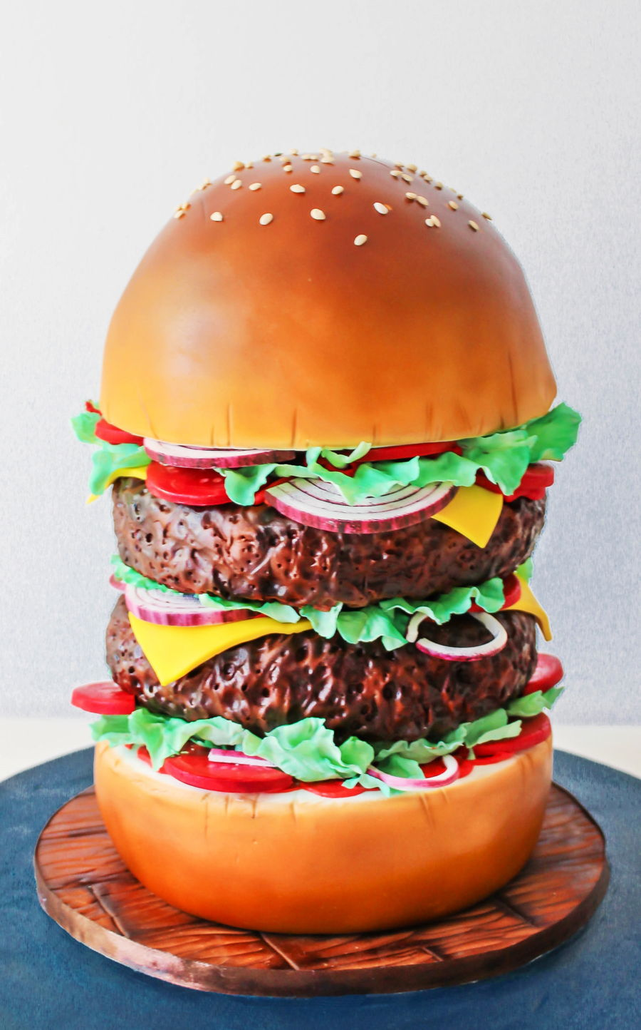 Giant Burger Cake on Cake Central