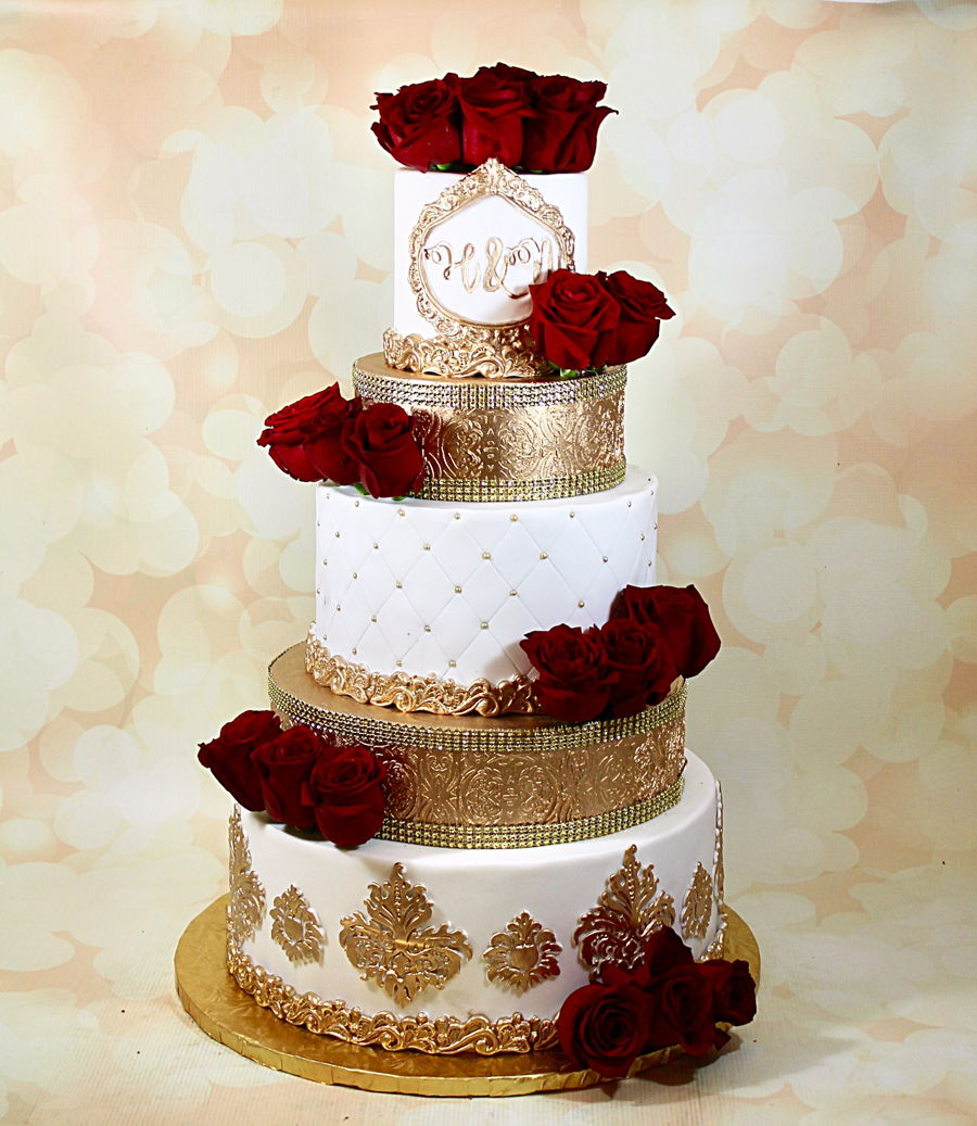 Gold And White Wedding Cake , CakeCentral.com