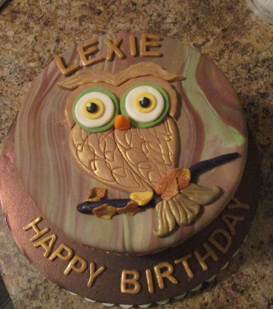 Enjoyable Lexies Owl Birthday Cake Cakecentral Com Funny Birthday Cards Online Elaedamsfinfo