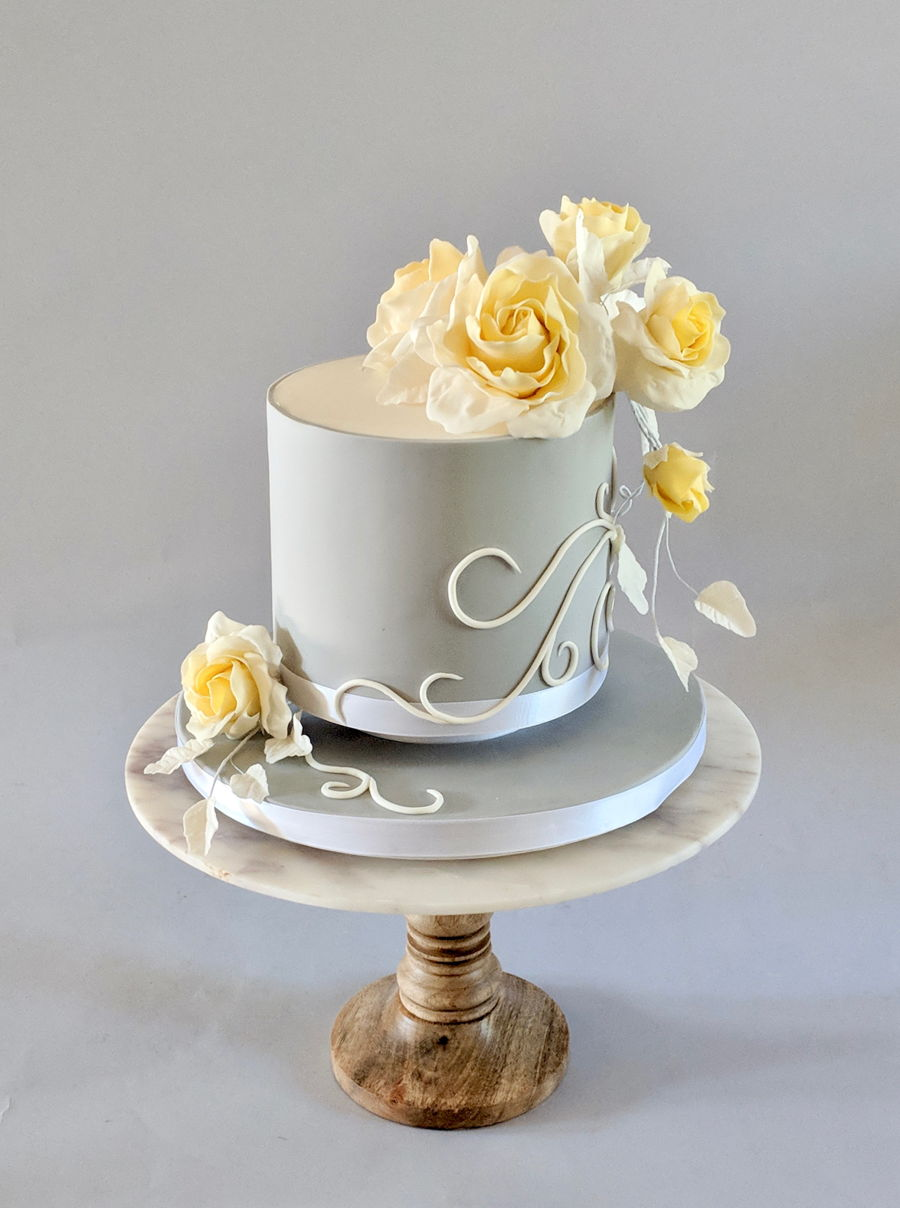 Small Wedding Cake With Yellow Sugar Roses on Cake Central