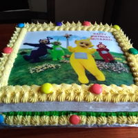 Birthday Vanilla butter cake with teletubbies image