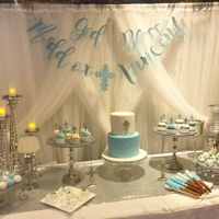Blue And Silver Baptisim Fully decorated sweet table, 2 tier cake 8+6 plus cupcakes, mini cupcakes, Cakepops, caramel wrapped pretzels and candy berries. Back drop...