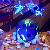 Bowling Ball Cake Glow in the dark bowling ball cake and cookies