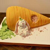 Bunny And Giant Carrot Not an original design but a lot of fun to make! It was for a cute little girls birthday in December.