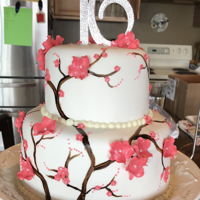 Cherry Blossom Sweet 16 Painted branches and gumpaste cherry blossoms
