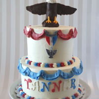 Eagle Scout Cake Six and Eight inch rounds in buttercream with Gumpaste decorations and a Modeling Chocolate Eagle.