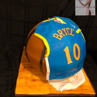 "Golden State Warriors Birthday Done by yours truly 12"" basketball strawberry cake with vanilla buttercream for a 10th birthday. Fonant decor"