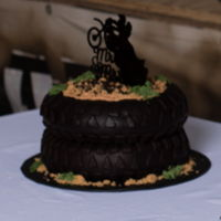 Grooms Cake Trail Bike Theme Chocolate fudge cakes filled with Oreo creme and covered in fondant.