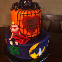 Halloween Heart Warrior Cake fondant cake with sculpting paste figure