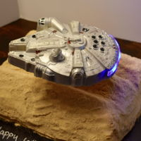 Illenium Falcon With Lights This was a lot of fun to make! To make The millennium falcon I used white chocolate and dusted with silver luster dust and hand painted...