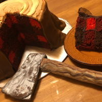 Lumberjack Cake Because I just wanted to see if I could do this one lol. Three cake flavors (chocolate, red velvet, and red-tinted white cake), buttercream...
