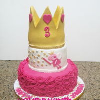 Peppa Pig Princess Cake 3 tiered chocolate cake covered in fondant, crown is gum paste