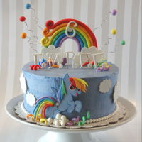 Rainbow Dash Cake Eight inch round in buttercream with gumpaste decorations.