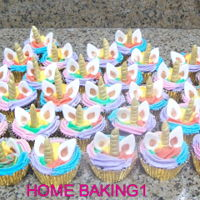 Rainbow Unicorn Cupcakes chocolate cupcakes decorated with butter cream