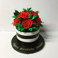 "Red Roses 7"" white And black fondant w/ gumpaste red roses"