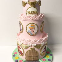 "Simple Princess Castle Cake 9,7,5"" Princesses are edible images"