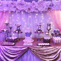 Sweet 16 Sweet Table Blush and silver theme sweets table featuring a 3 tier cake, cupcakes, mini cupcakes, Cakepops, caramel wrapped pretzels, candy berries and...