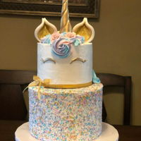 Unicorn Cake buttercream cake with fondant decorations