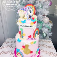 Unicorn My Little Pony Cake Two-tier birthday cake for a unicorn loving 6 year old!