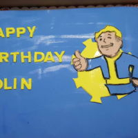 Vault Boy I had never heard of this video game character until this cake ....I thought it turned out pretty well