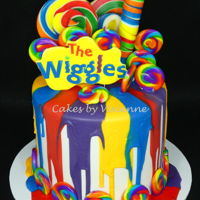 Wiggles 1St Birthday Cake Triple barrel 7 inch choc mud cakes