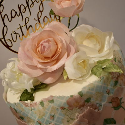 Feminine Wafer Paper Birthday Cake