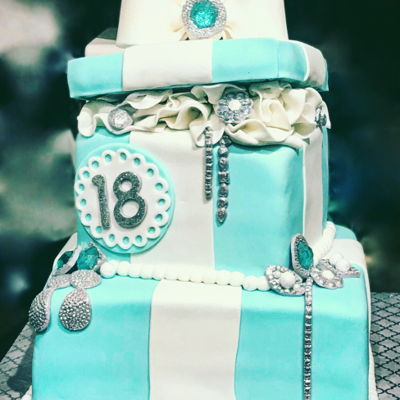 Tiffany Inspired Gift Box Cake