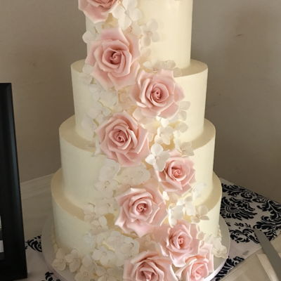 Wedding Cake With Pink Gum Paste Roses